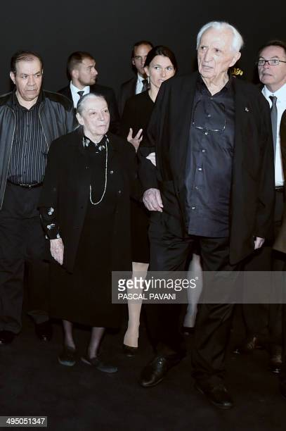 French painter engraver and sculptor Pierre Soulages and his wife Colette attend the inauguration of the Soulages museum in Rodez southern France on...