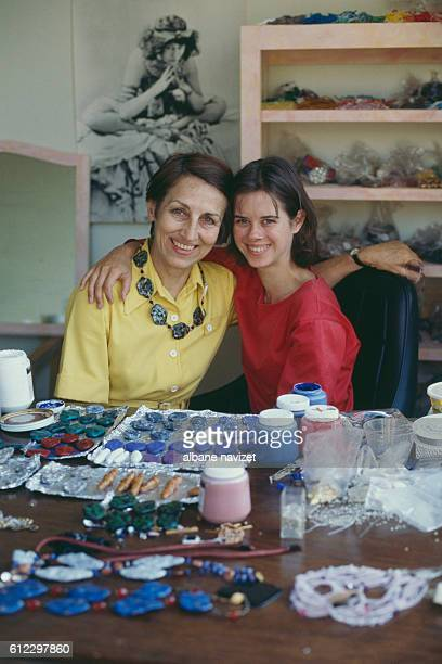 French painter Francoise Gilot and her daughter Aurelia she had with painter Luc Simon in her workshop in La Jolla