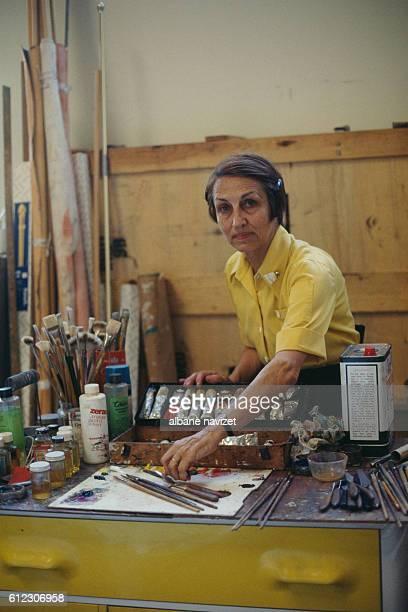 French painter Francoise Gilot in her workshop in La Jolla