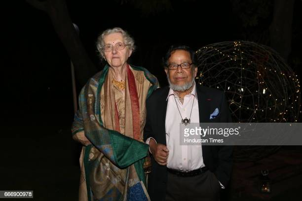 French painter Maite Delteil with husband painter Sakti Burman during the Good France 2017 annual dinner hosted by French Ambassador Alexandre...