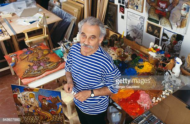 French Painter Théo Tobiasse in His Workshop