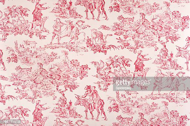 toile francaise antique fabric - franse cultuur stockfoto's en -beelden