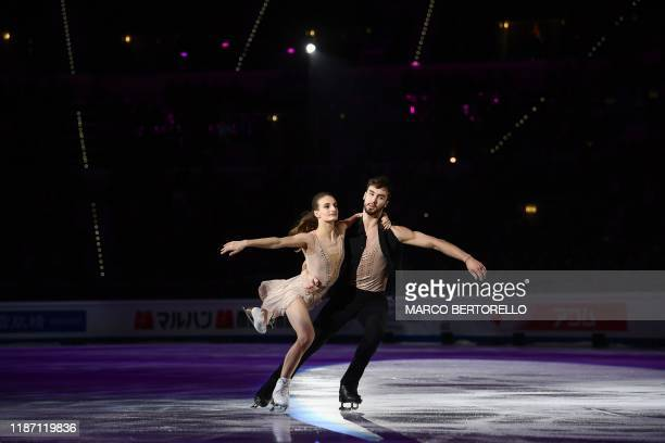 French pair Gabriella Papadakis and Guillaume Cizeron perform during the exhibition gala at the ISU Grand Prix of figure skating Final 2019 on...