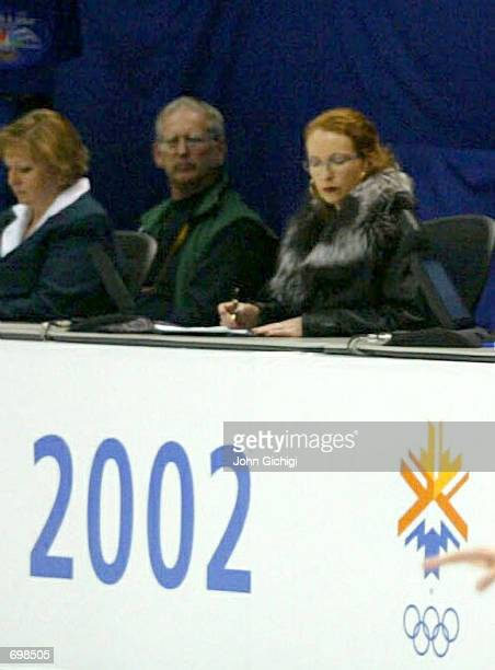 French pairs figure skating judge MarieReine Le Gougne looks at her notes during the pairs free program competition during the 2002 Salt Lake City...