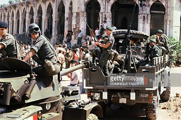 French paratroopers of the 2nd REP assigned to the Multinational Force in Lebanon patrol in Beirut 23 August 1982 The Multinational Force in Lebanon...