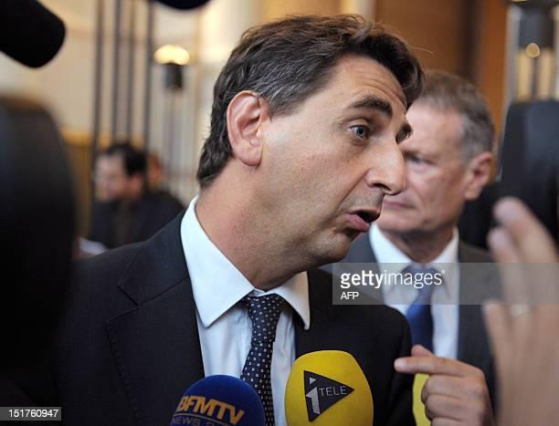 French Parliament member for SeineSaintDenis Daniel Goldberg answers journalists questions at the end of the presentation of Emmanuel Sartorius'...
