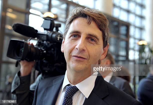 French Parliament member for SeineSaintDenis Daniel Goldberg looks on following the presentation of Emmanuel Sartorius' report about the situation of...