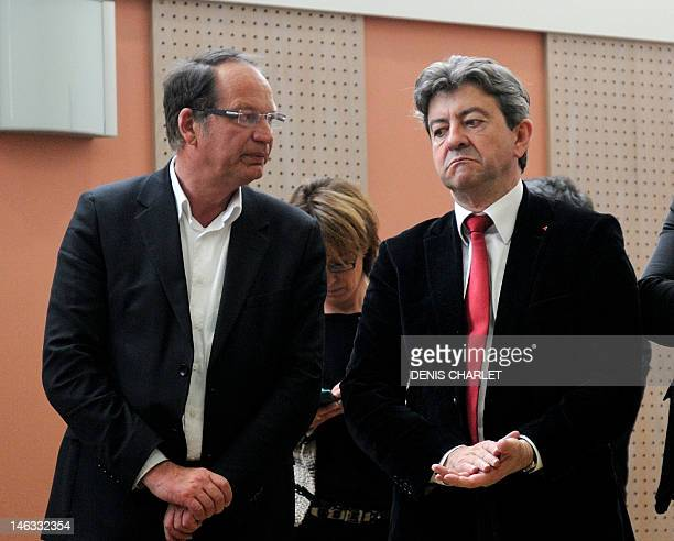 French Parti de Gauche leader JeanLuc Melenchon listens to Philippe Kemel the Socialist Party candidate for the June 2012 French parliamentary...