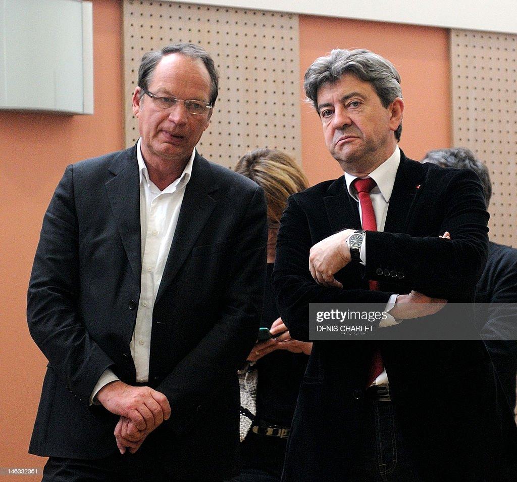 French Parti de Gauche leader Jean-Luc Melenchon talks to ...