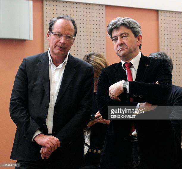 French Parti de Gauche leader JeanLuc Melenchon talks to Philippe Kemel the Socialist Party candidate for the June 2012 French parliamentary election...