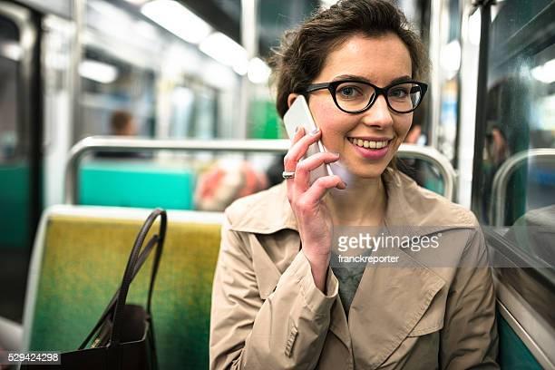 french passenger inside the paris metro train
