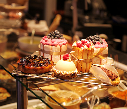 French pastries on display a confectionery shop 518468635