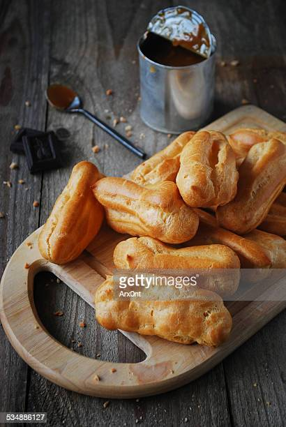 French pastry: eclaires with dulce de leche