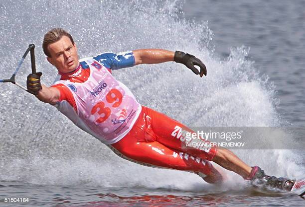 French Patrice Martin in action during the slalom final in Moscow 05 August 2000 during Water Ski European Championship 2000 Martin placed third in...