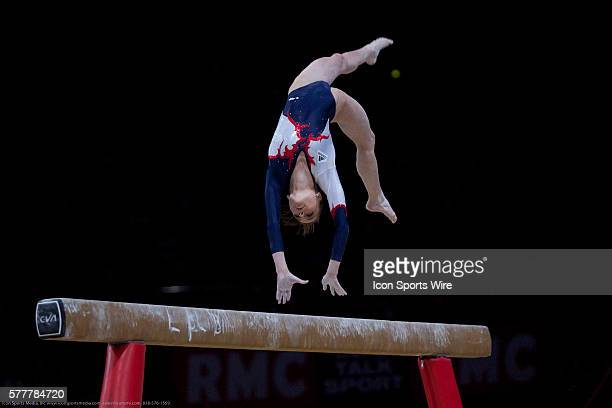 French Pauline Morel during the beam world cup final She takes the 7th place with the total of 12800 points Paris Bercy World Cup of Paris April 11...