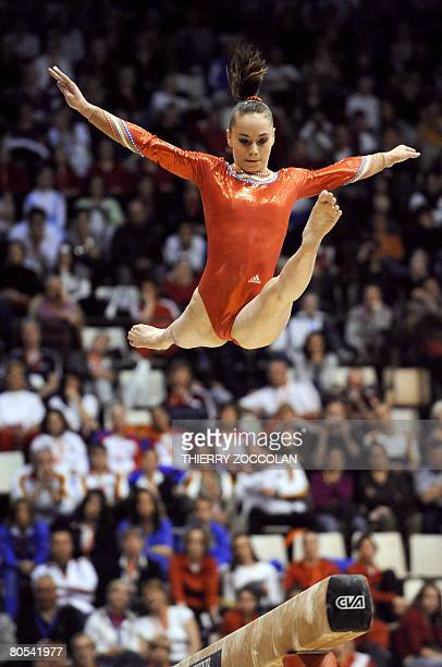 French Pauline Morel member of the senior team performs on beamr during the Euro2008 women artistic gymnastics championships on April 06 2008 in...