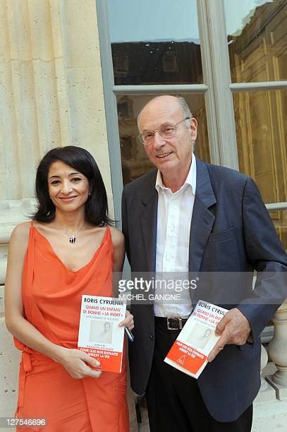 French pedopsychiatrist Boris Cyrulnik 5r° who was in charge by French government of a mission on the suicide of children and young people flanked by...