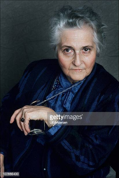 PARIS FRANCE JANUARY 24 French pedopsychiatrist Francoise Dolto poses during a portrait session held on October 24 1988 in Paris France