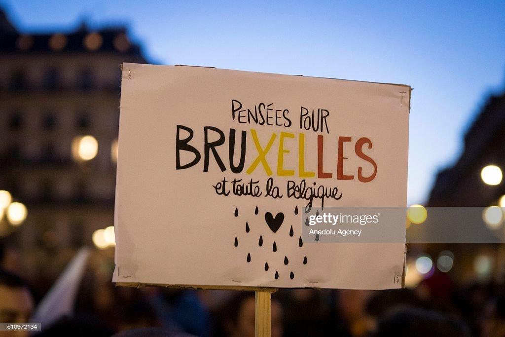 Solidarity demonstration for Belgium in Paris after terrorist attacks : News Photo