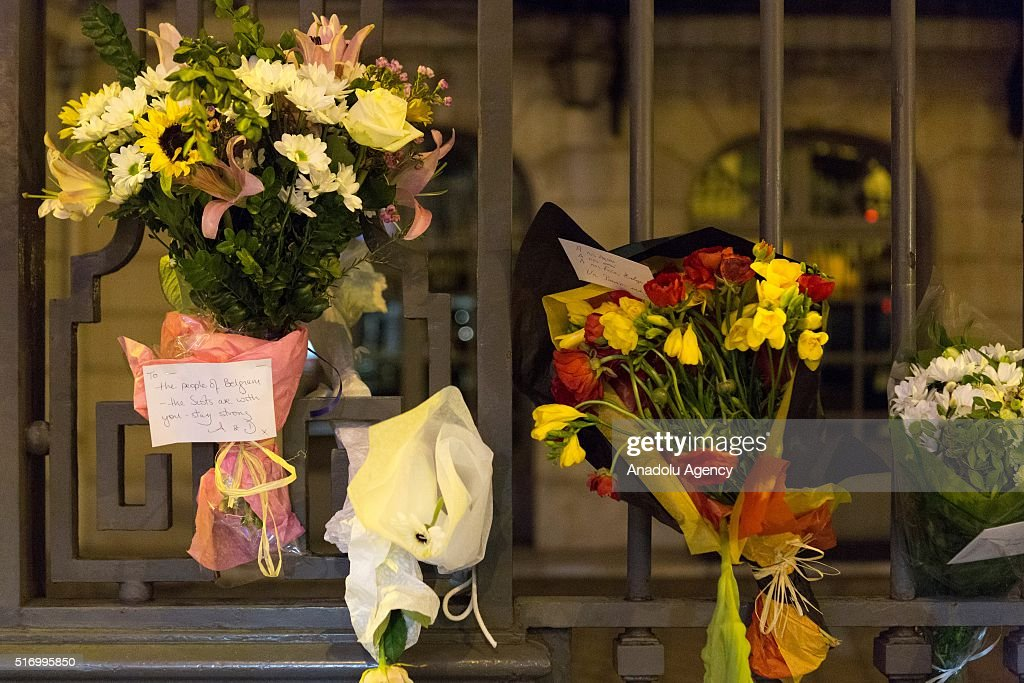 French people leave flowers to pay respect to Belgium after Brussels Terror attack, at the Belgian Embassy in Paris, France on March 22, 2016.