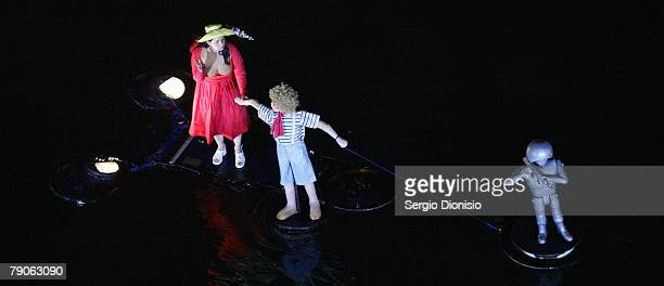 French performers IIotopie perform their latest creation titled 'Water Fools' during the 2008 Sydney Festival in Cockle Bay Darling Harbour on...