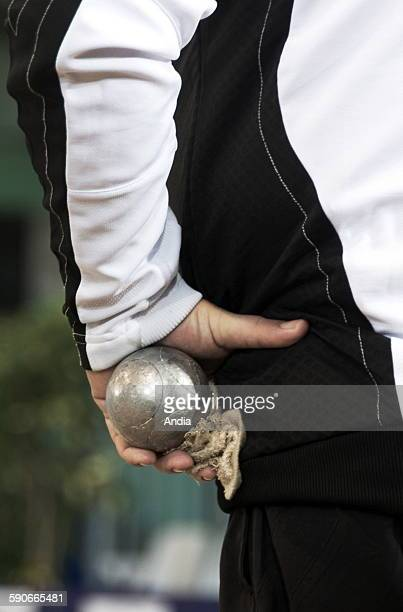 French 'Petanque' Championship 2009 at Oloron SainteMarie Playing holding a bowl in his hands