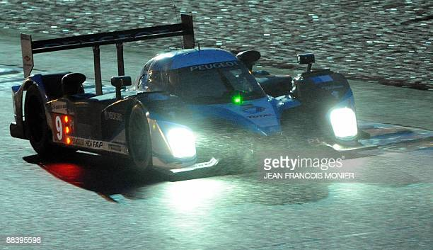 French Peugeot Peugeot 908 HdiFap n° 9 driven by David Brabham Marc Gene and Alexander Wurz performs during the free practice session of the Le Mans...