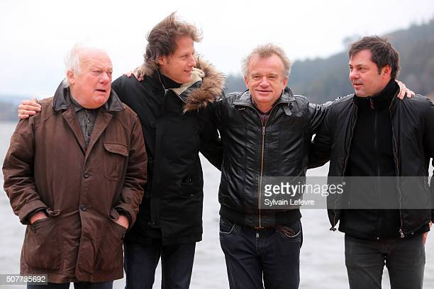 French Philippe Nahon Thomas Verovski Dominique Pinon and Olivier Van Hoofstadt attend 23rd Gerardmer Fantastic Film Festival photocall on January 30...