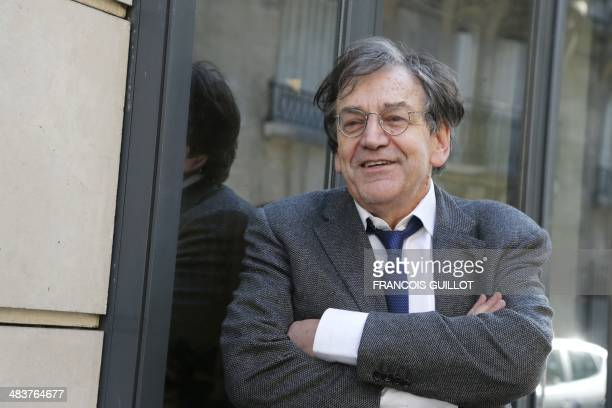 French philisopher Alain Finkielkraut reacts at his publisher's headquarters Stock on April 10 2014 in Paris Alain Finkielkraut was elected to the...
