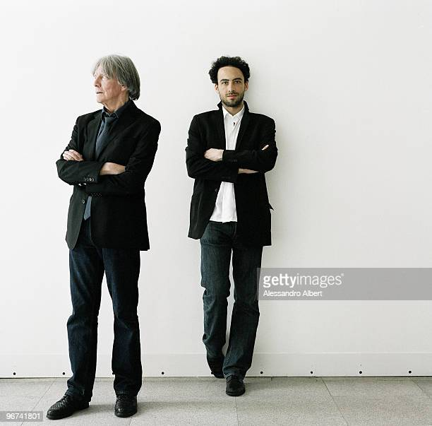 French philosopher and Andre Glucksmann and his son Raphael Glucksmann pose for a portrait shoot in Milan on May 05 2008