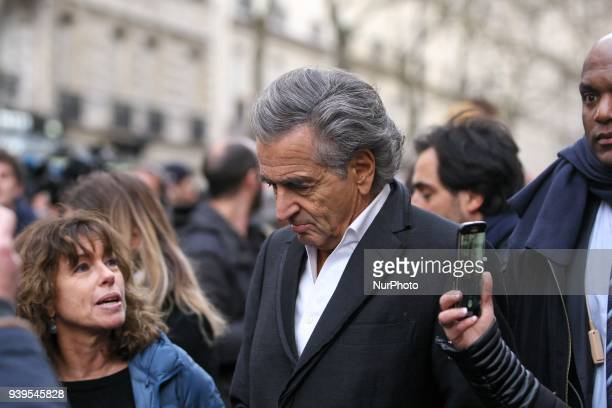French philosopher and coscreenwriter BernardHenry Levy takes part in a silent march in Paris on March 28 in memory of Mireille Knoll an 85yearold...