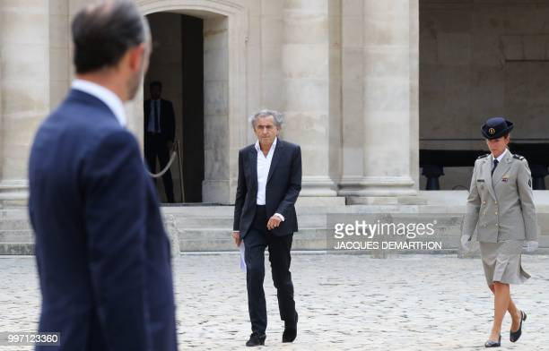French philosopher and writer BernardHenri Levy arrives to take part in a tribute ceremony to French filmmaker and writer Claude Lanzmann on July 12...