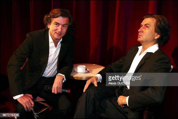 French Philosopher Bernard Henri Levy discovers his wax likeness at the Grevin museum