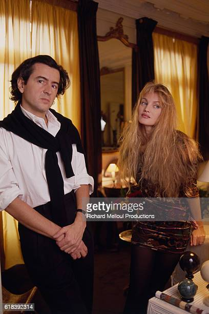 French philosopher Bernard-Henri Levy and French-American actress and singer Arielle Dombasle at home.