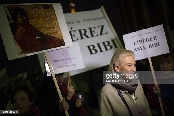 French philosopher Elisabeth Badinter participates in a demonstration on the Parvis des droits de l'homme in Paris on October 29 to protest against...