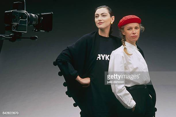 French photographer Dominique Issermann poses with French fashion model Anne Rohart