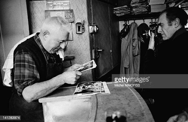 French photographer Robert Doisneau in the 'Cafe Bof' in February 1977 in Paris France