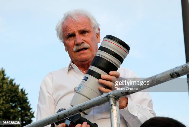 French photographer Yann ArthusBertrand is seen during the 30th edition of the 'Diner En Blanc' event on the Invalides esplanade on June 3 2018 in...