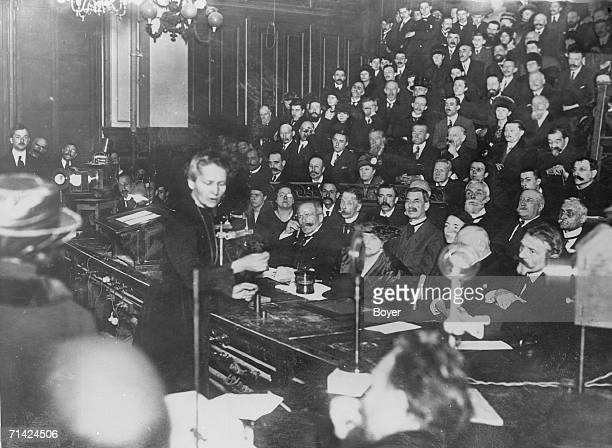 French physicist and chemist Marie Curie gives a lecture to an audience of men and women at the Conservatory of Arts and Crafts Paris 1925 Curie won...