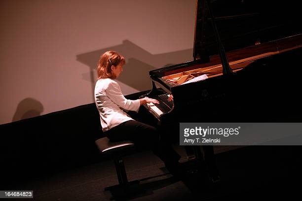 French Pianist Anne Queffelec performs works by composers Poulenc, Debussy, de Severac, Dupont and other contemporaries of Erik Satie at a Steinway...