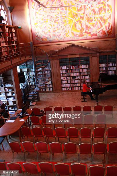 French Pianist Anne Queffelec rehearses in the library for a performance of works by composers Poulenc, Debussy, de Severac, Dupont and other...