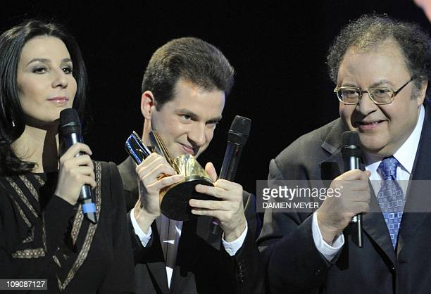 French pianist Bertrand Chamayou receives the best solist artist of the year award from French TV host Marie Drucker and French musician and radio...