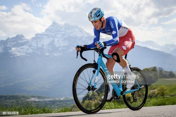 French Pierre Roger Latour of the AG2R La Mondiale's competes during the 3rd stage, a 9,9 km race against the clock, Ollon to Villars, at the Tour de...