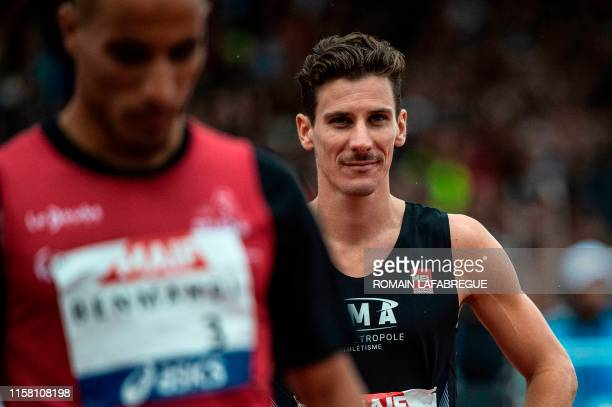French Pierre-Ambroise Bosse prepares to compete in the men's 800m final during the France Athletics Championships 2019 at the Henri-Lux stadium in...