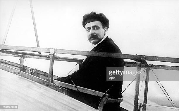 French pilot Louis Bleriot aboard his monoplane around 1909