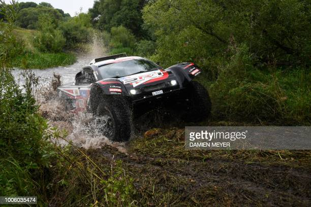 French pilot Mathieu Serradori and Belgian copilot Fabian Lurquin compete during the seventh leg of the Silk Way Rally 2018 LipetskMoscow on July 27...