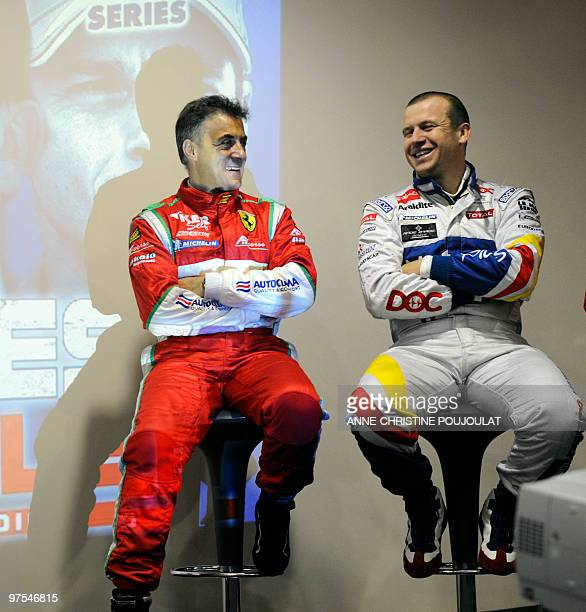 French pilot of Ferrari team AF Corse Jean Alesi and French pilot of Peugeot team Oreca Matmut Olivier Panis smile during a press conference on March...