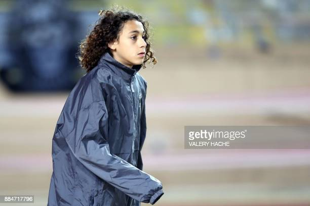 French player Amara Djelassi looks on prior to the French L1 football match between Monaco and Angers at the Louis II Stadium in Monaco on December 2...