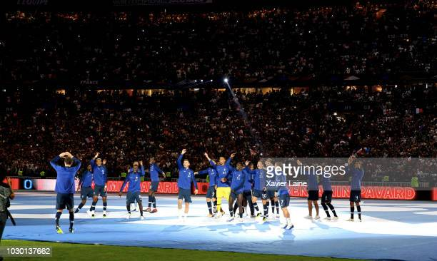 PARIS FRANCE SEPTEMBER French player celebrate the FIFA World Cup won on July 15 2018 in MoscowRussia in front of their fans after the UEFA Nations...