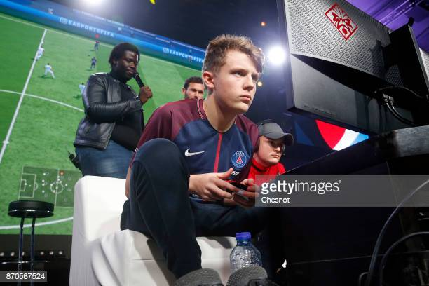 French player ESports Lucas Cuillerier gamertag 'DaXe' of the eSports team of Paris SaintGermain competes in the final of the video game 'FIFA 18'...